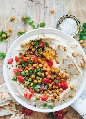 Houmous libanais aux pois chiches grillés