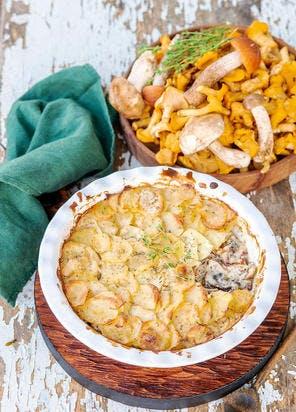 Gratin de pommes de terre aux champignons des bois