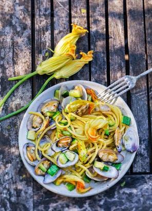 Spaghettis aux palourdes et courgettes