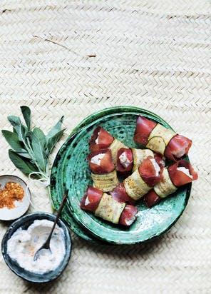 Involtini de ricotta, courgettes grillées et bresaola