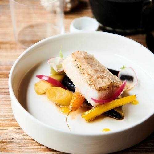 Merlu de ligne de la Turbale et légumes nantais, carotte de Chantenay