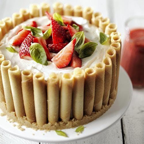 Cheesecake fraises-basilic