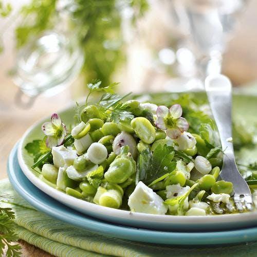 Salade aux fèves fraîches, herbes et feta