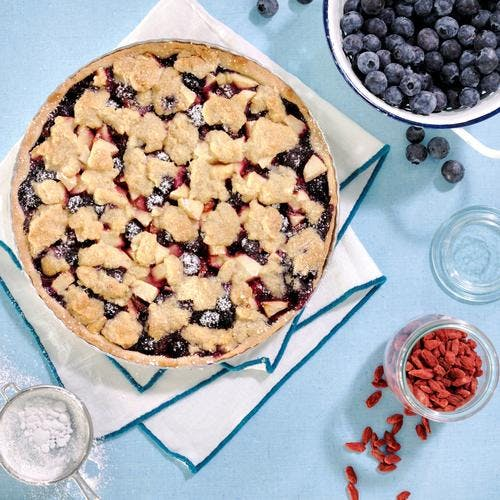 Tarte streusel pommes – myrtilles et baies de goji