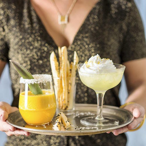 Cocktail ananas-rhum et martini citron meringué