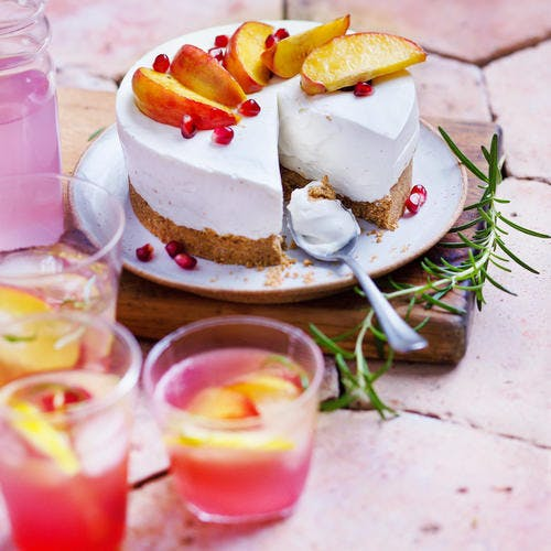 Cheesecake pêche et grenade