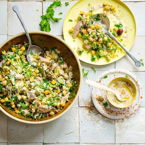 Salade de pois chiches et boulgour, sauce tahini
