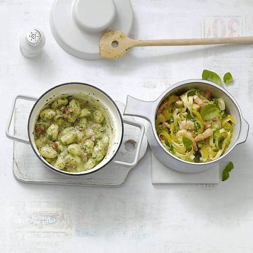 Gnocchis aux lardons et pesto - Tagliatelles aux crevettes et à l'ail