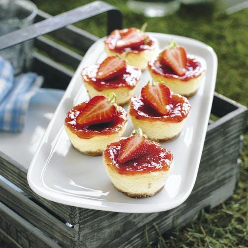mini cheesecakes aux fraises
