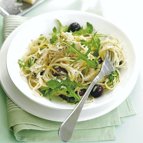 spaghettis aux artichaut, au citron et au parmesan