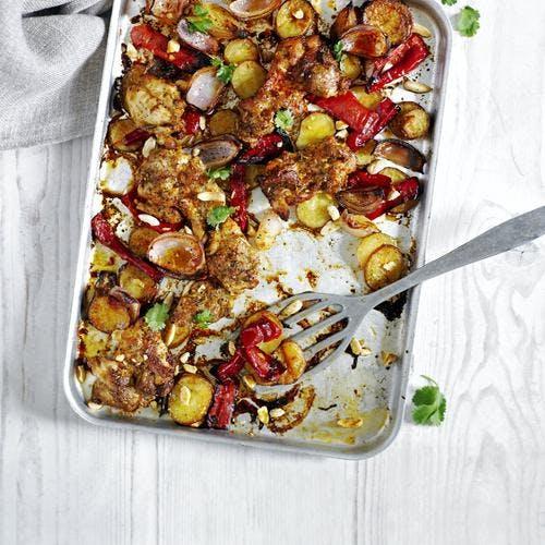 gratin de poulet, poivrons rouges et amandes