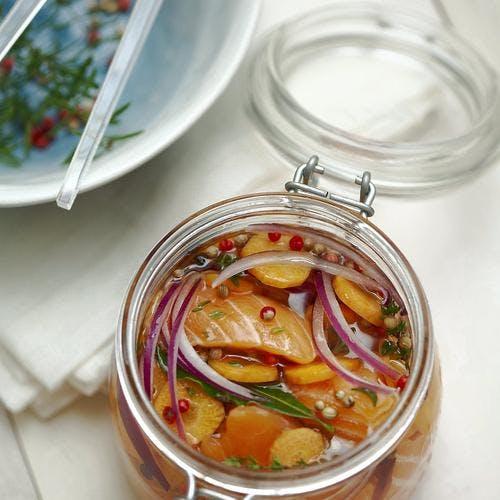 Saumon mariné aux carottes