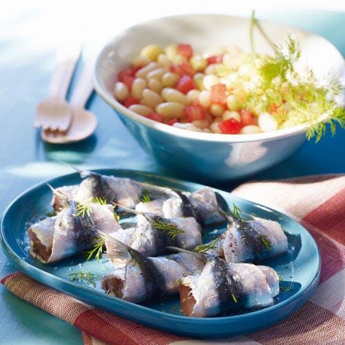 Sardines marinées, salade de mogettes