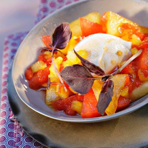 Pastèque et mozzarella au sirop de basilic pourpre