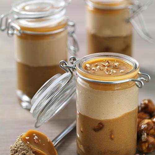 Verrines café-noisette et gelée caramel au cognac