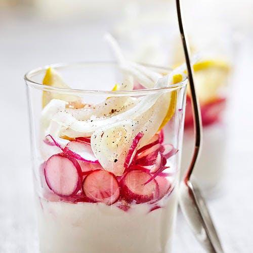Verrine de crème légère de radis