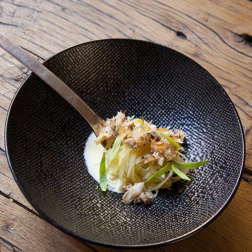 Carbonara de pommes de terre, maquereau et estragon