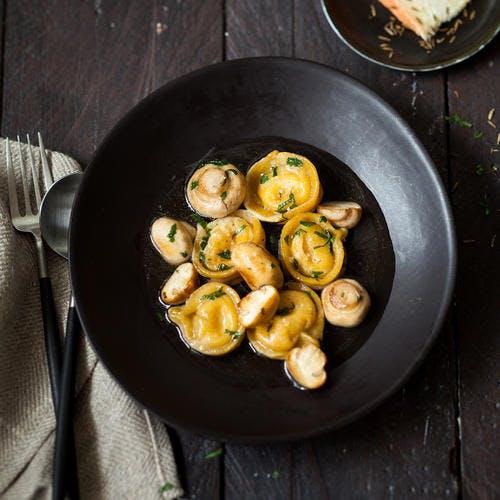 Tortellinis de maroilles aux champignons du moment