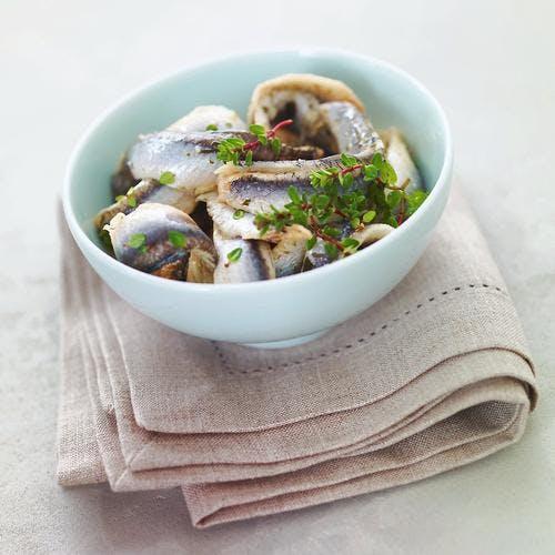 Salade d'anchois au thym citron