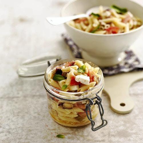 Salade de penne, aubergines et feta
