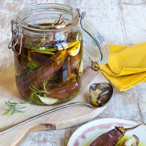 Aubergines confites à l'huile