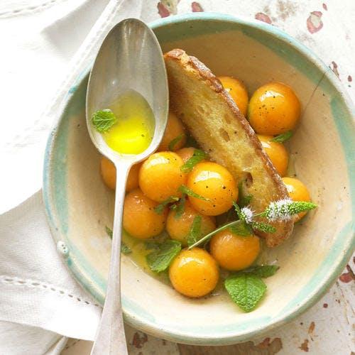 Melon au sirop de menthe