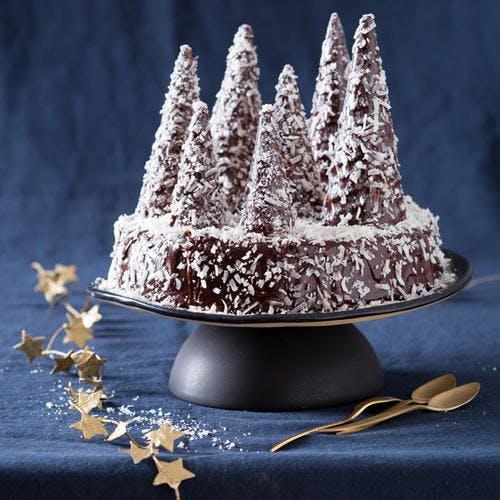 Gâteau sapin au chocolat, neige de coco