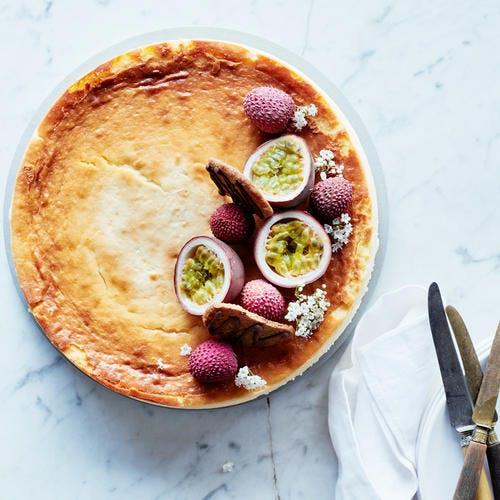 Cheesecake litchis et fruit de la passion
