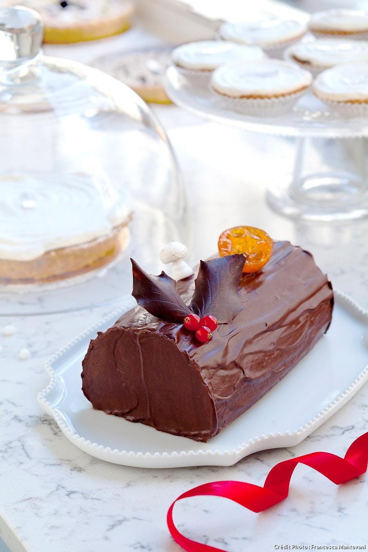 Bûche au chocolat et aux clémentines confites
