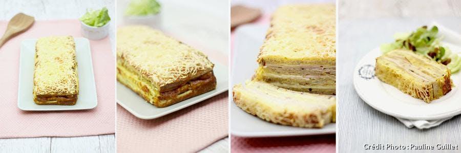 Un croque-cake présenté dans l'assiette