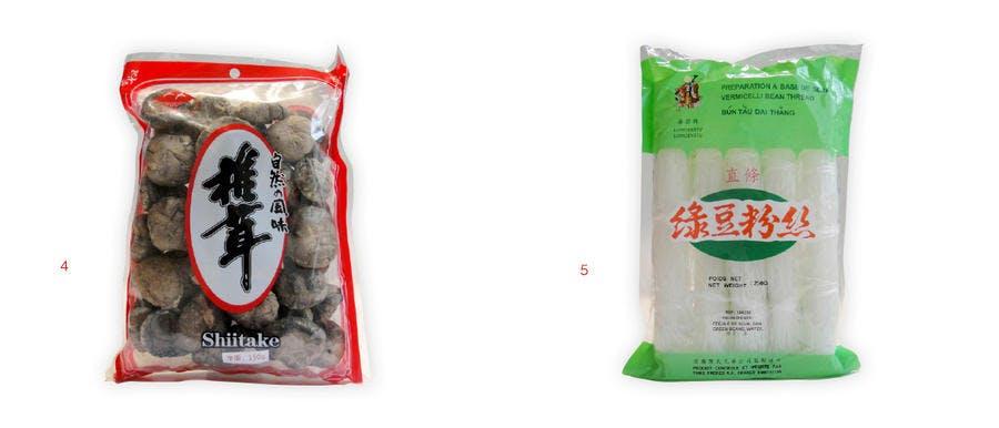 Shiitakes séchés et vermicelles