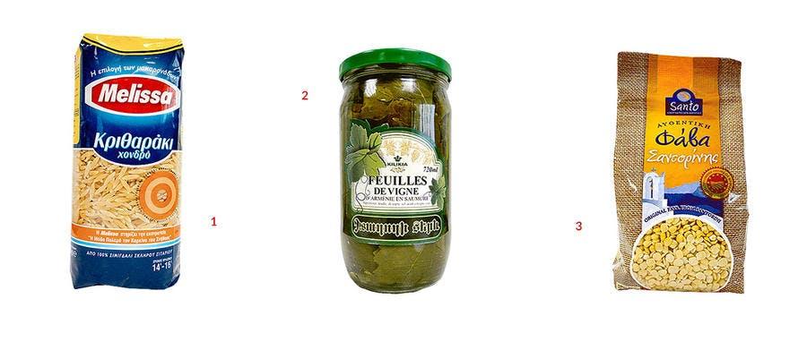 Produits disponible en épicerie grecque