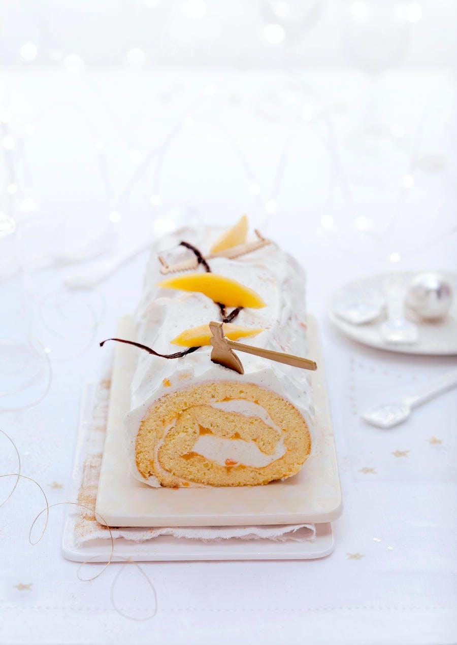 Bûche roulée vanille et mangue