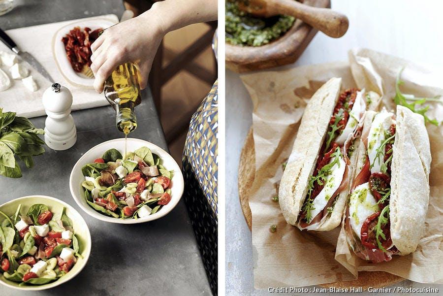 Salade et panini à la mozzarella