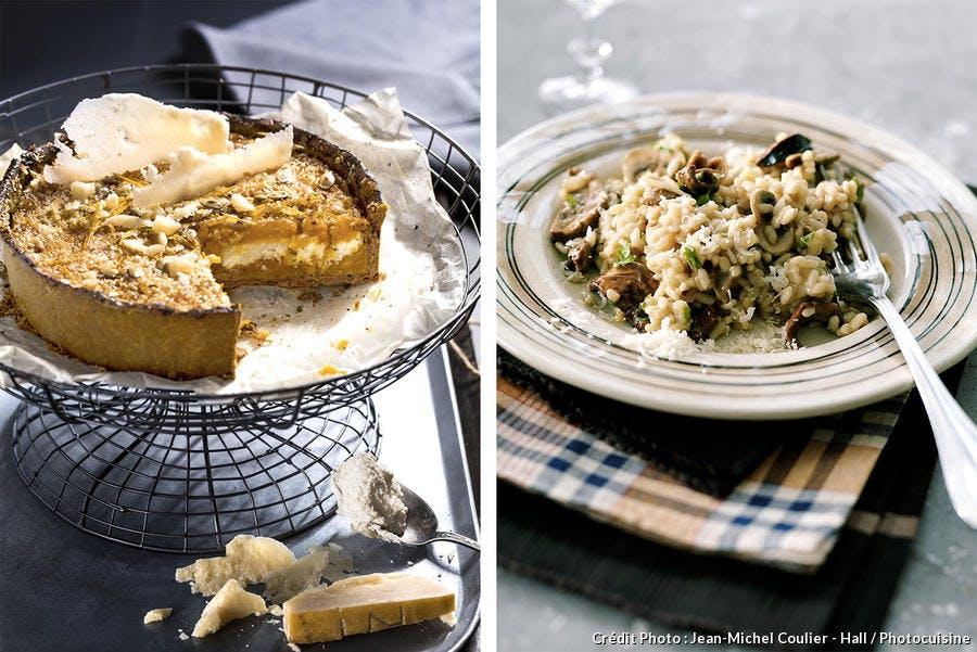 Tarte potimarron ricotta-parmesan / Risotto aux cèpes