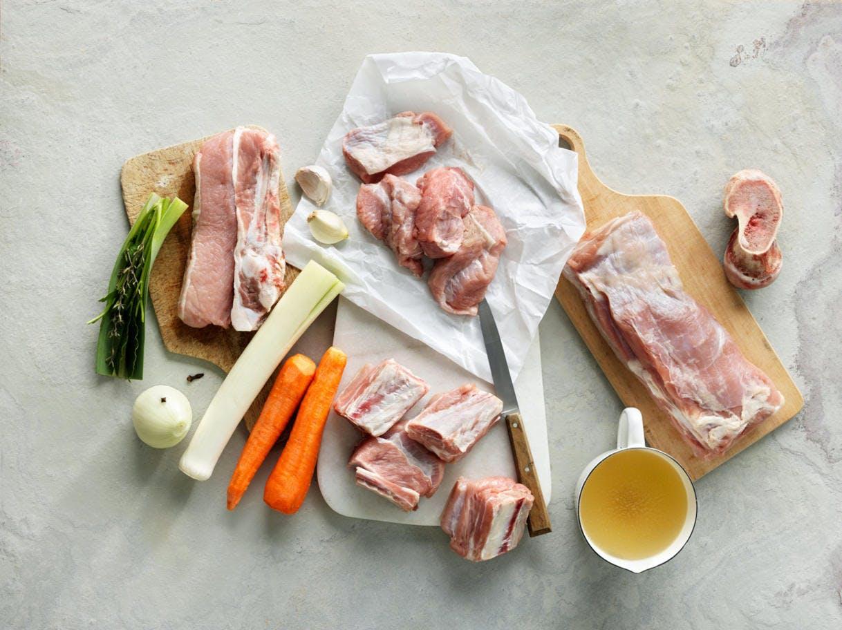 Les ingrédients pour une blanquette de veau