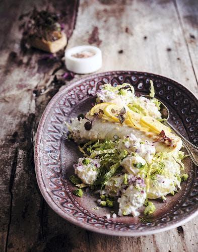 Salade de chou cru et skrei au citron