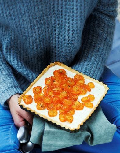 Tarte panna cotta et kumquats confits