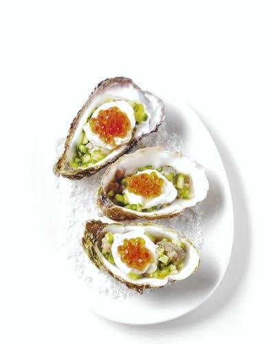 Huîtres aux oeufs de saumon