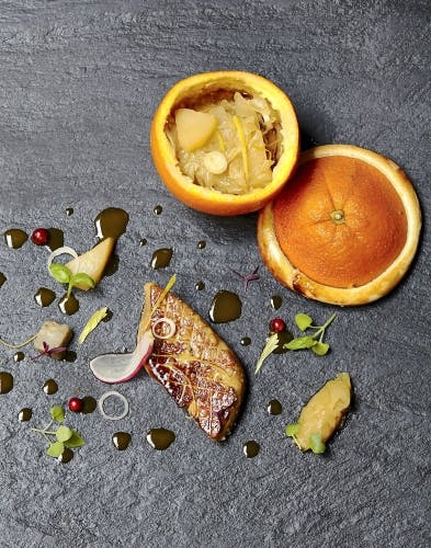 Oranges lutées au foie gras