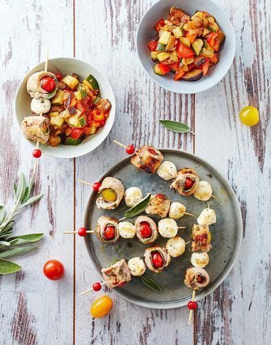 Brochettes de saltimbocca de veau