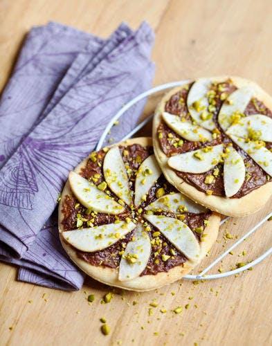 Mini-pizzas poire-chocolat