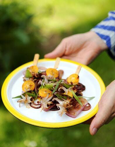 Brochettes de supions et kumquats