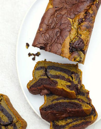 Cake fondant au thé matcha et chocolat noir