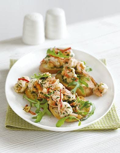 tartines crevettes-coriandre