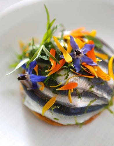 Tarte à la sardine et aux fleurs