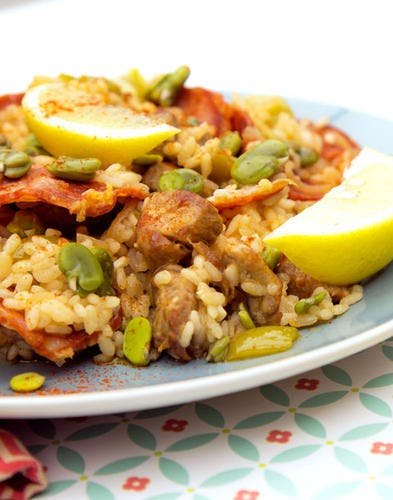 Paella chorizo et fèves