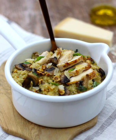 Quinoa au lait de coco, poulet et champignons