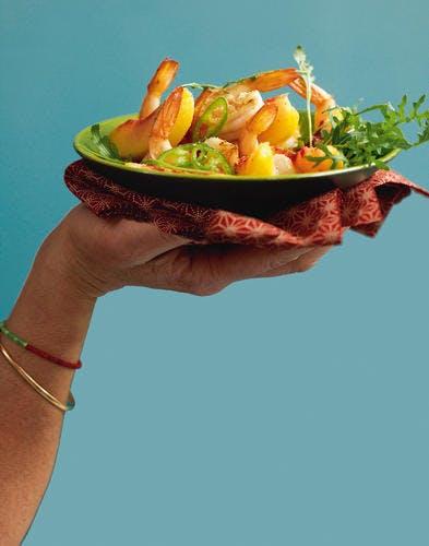 Salade de crevettes aux pêches