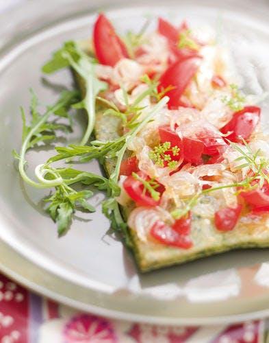 Sablé vert et tomates en l'air
